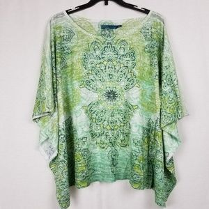 PRANA GREEN BAT WING SLEEVE TOP SIZE MEDIUM
